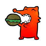 retro cartoon greedy fox - stock illustration