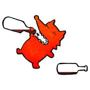 Stock Illustration of retro cartoon greedy fox