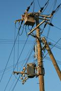 electricity distribution wire equipment - stock photo