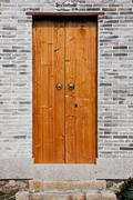 classic chinese wooden door - stock photo