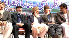 Leaders of the Jamaat Islami at a Rally on Kashmir Solidarity Day in Islamabad Stock Footage