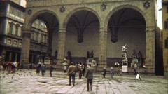 Piazza Della Signoria Vintage Italy Stock Footage