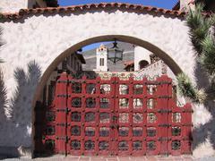 Scotty's Castle gate - stock photo