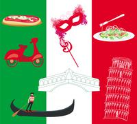 Vector set of italy icons Stock Illustration