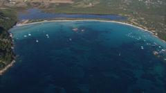 Aerial corsica beach rock sea campo moro Stock Footage