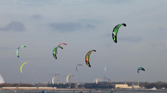 Snowkiting in the sky over the ice sea Stock Footage