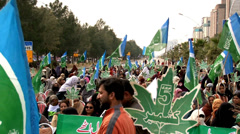 Women and Children Demonstrate at a Jamaat Islami Rally in Islamabad Stock Footage