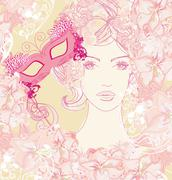 Stock Illustration of beautiful woman with carnival mask, abstract floral portrait