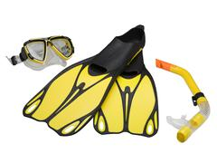 fins, mask and snorkel (clipping path) - stock photo