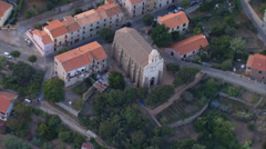 Aerial corsica cargese church village houses Stock Footage