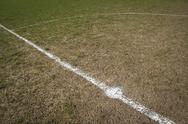 Stock Photo of Centre circle local football pitch