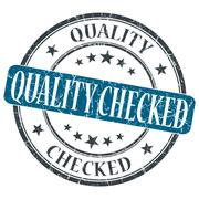 Quality checked blue grunge round stamp on white background Stock Illustration