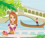 Stock Illustration of cafe in venice, gondola in the background