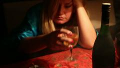 Drunk woman sleeping on a table Stock Footage