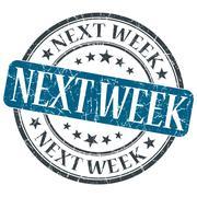 next week blue grunge round stamp on white background - stock illustration