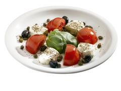 Plate caprese, tomato mozzarella. Stock Photos
