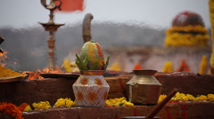 Hinduism Temple puja India - stock footage