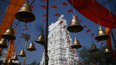 Bells in Hindu temple at Hyderabad India - stock footage