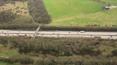 Aerial view rural Motorway England, UK - stock footage