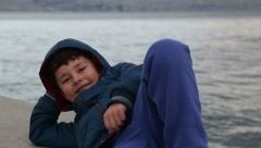 Portrait of a happy little boy Stock Footage