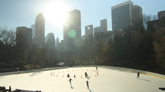 Central park ice rink beautiful and few people Stock Footage
