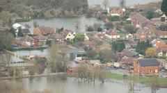 Environmental damage by flooding, Surrey, UK - stock footage