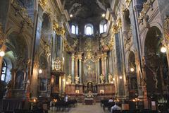 inside of jesuit church in lvov - stock photo