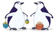 Stock Illustration of Antarctic penguins with gift boxes