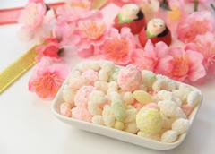 Hina arare (Grilled bits of rice cake) Stock Photos