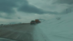 Driving in a snowy road of the Falakro 'Bald' mountain. Stock Footage