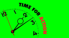 Stock Video Footage of clock with words Time for Action on its face