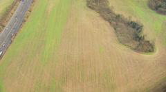 Aerial view rural Motorway England - stock footage