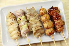 Yakitori (Broiled chicken on a skewer) - stock photo