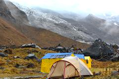 Storm in the annapurna base camp, nepal Stock Photos