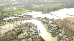 Flooding of property Southwest England, UK Stock Footage
