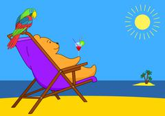 Teddy bear in a chaise lounge on a beach Stock Illustration