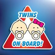 twins on board sticker - stock illustration