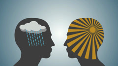Sun and storm in two human head Stock Footage