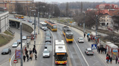 Warsaw, Poland. Busy Warsaw street. Cars, buses and tramways. Stock Footage