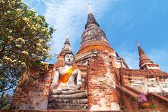 Wat yai chai mongkol- ayuttaya of thailand Stock Photos