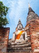 buddha statue in wat yai chai mongkol- ayuttaya of thailand - stock photo