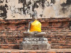 Buddha statue in wat yai chai mongkol- ayuttaya of thailand Stock Photos