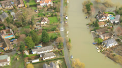 Widespread river floodwater, England, UK - stock footage
