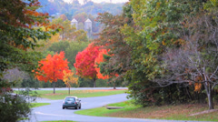 Car Driving in Fall - stock footage