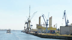 Portions of drilling platform Borwin Beta which is under construction Stock Footage