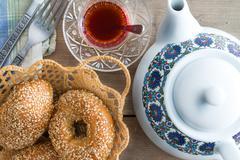 fresh turkish sesame bagels for teatime - stock photo