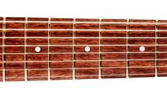 Eight-strings guitar fretboard Stock Photos