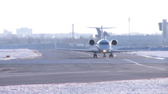 Stock Video Footage of Challenger Business Jet taxiiing