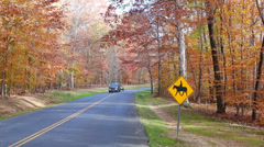 Horse Crossing Sign in Autumn Landscape - stock footage