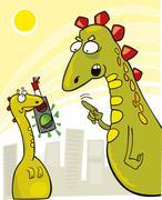 Rude Little Godzilla - stock illustration